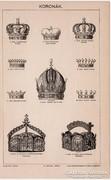 Koronák, Pallas nyomat 1896, eredeti, antik, korona