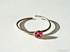 Rózsaszín köves ezüst gyűrű