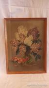 Jelzett orgona virágcsendélet festmény olaj-fa