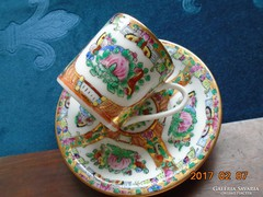 Famille Rose-kézzel festett-aranyozott kávés csésze-alátétt