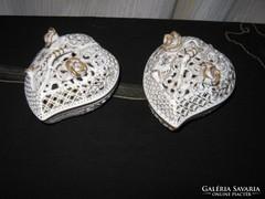HERENDI áttört, szív alakú gyürű, tartó, 2 db, aranyozott