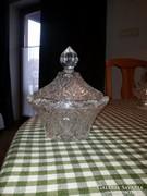 Metszett üveg bonbonier, átm.: 15cm