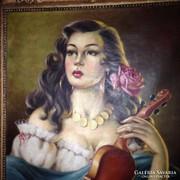 Cigány lány hegedűvel - Antik szalonkép