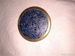 Antik kék tetős réz pudrié régi  púdertartó kompakt púderrel