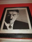 Adolf Hitler portré grafika, szignózott
