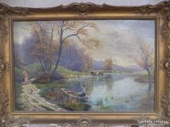 Antik olajvászon festmény szignós
