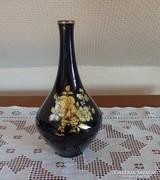 Kobaltkék hollóházi váza, arany dekorral