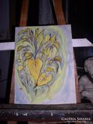 Falevelek,Modern Csendélet, guache, közvetlenül a festőtől