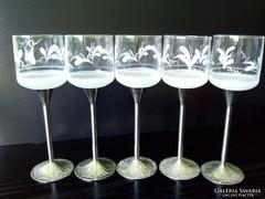 Fém alpakka talpas csiszolt pohár poharak 5 db