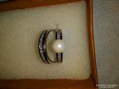 Ezüst gyűrű+fülbevaló szett