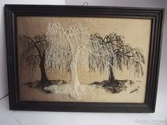 Textilkép szomorúfűz fákkal