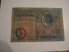 100 Korona 1912 Románia Felülbélyegzéssel!