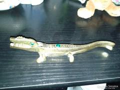 Réz Krokodil csodaszép zöld kövekkel kirakva