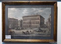 Farnese Palota - színezett rézkarc