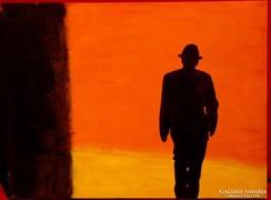 Sétáló férfi feketében - Szép modern alkotás 2006-ból