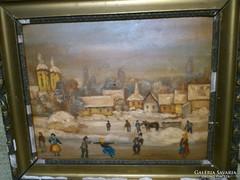 Falusi korcsolyázó vidám emberek,  olaj festmény