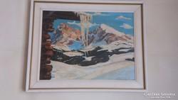 Német,szignózott nagy méretű festmény keretben