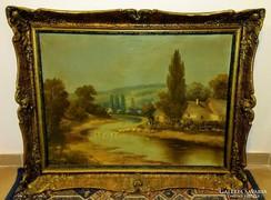 Antik festmény Marosi MS.  jelzéssel gyönyörű keretben
