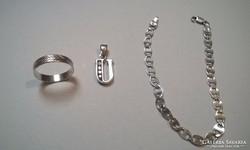925 jelzett Ezüst gyürű,függő,karkötő 3 db !