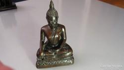 Buddha, távol-keleti, bronz színű resin szobor
