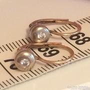 Gyémánt köves 14K-os arany button bicolor női fülbevaló