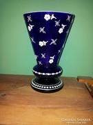 Kék üveg váza, festett fehér mintával - Parád