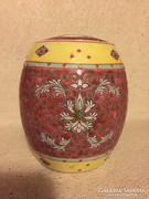 Érdekes tetővel kínai kézzel festett porcelán edény (36)