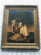 Kincskeresők ! Antik olajvászon festmény !