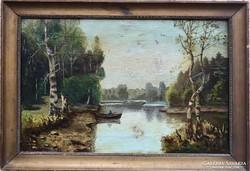 Telepy Károly -  Folyóparti táj 1870