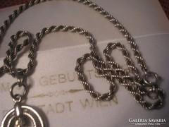 925-ös ezüst fonott nyaklánc,medállal U11