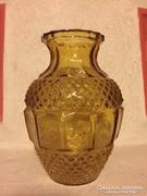 Borostyán színű régi öntött üveg váza (37)  - glass vase