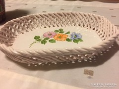 Gyönyörű,kézzel festett porcelán  fonott tál,asztalközép -38