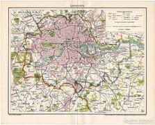 London térkép 1896, Pallas, antik, eredeti