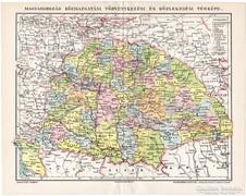 Magyarország közigazgatási térkép 1897, eredeti, antik