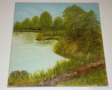 A tópart, olaj-vászon, 30 x 30 cm