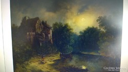 Antik festmény 1845. dátummal, F.N. szignóval, olaj-vászon.