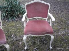 Chippendél barokk törtfehér iróasztal karosszék