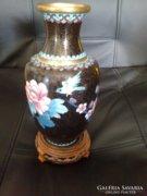 Tűzzománc keleti váza ,teakfa tartón