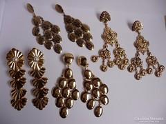 Aranyozott lógós bizsu fülbevalók (4 pár)