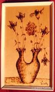 Retro váza hervadó virágokkal - Különleges régi égetett kép