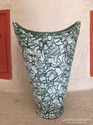 Gorka repesztett mázas zöld kerámia váza, ceramic vase (28)