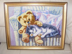 Cica és maci gobelin kép
