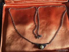 935-ös antik ezüst nyaklánc gyönggyel