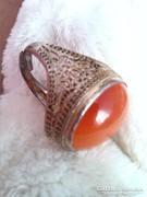 KIÁRUSÍTÁS! Antik csodás ezüst gyűrű borostyán kővel
