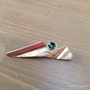 Svéd zöld turmalin köves ezüst bross