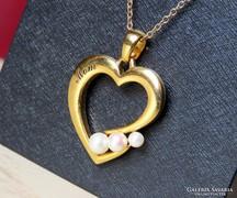 """""""Mom"""" aranyozott ezüst medál gyöngyökkel, lánccal"""