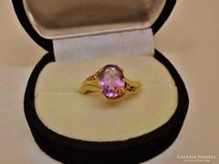 Szép antik tiszta valódi ametisztköves aranygyűrű