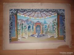 Díszletterv, Víg özvegy, régi akvarell