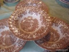 Csodaszép angol barna mély tányér 4 darab