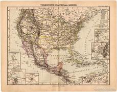 Amerikai Egyesült Államok és Mexikó térkép 1893, eredeti
